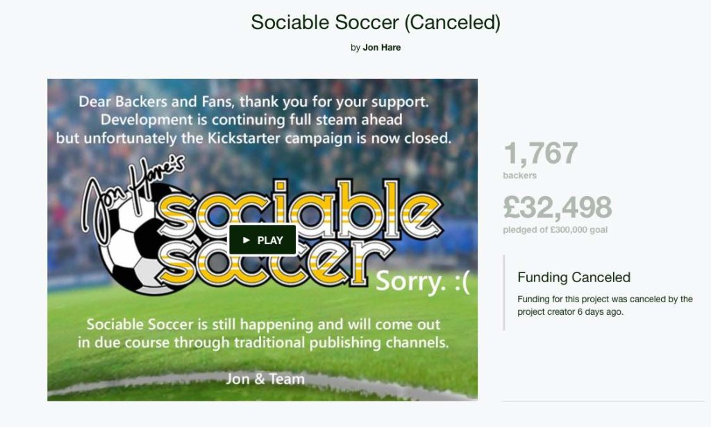 Sociable Soccer Cancelled