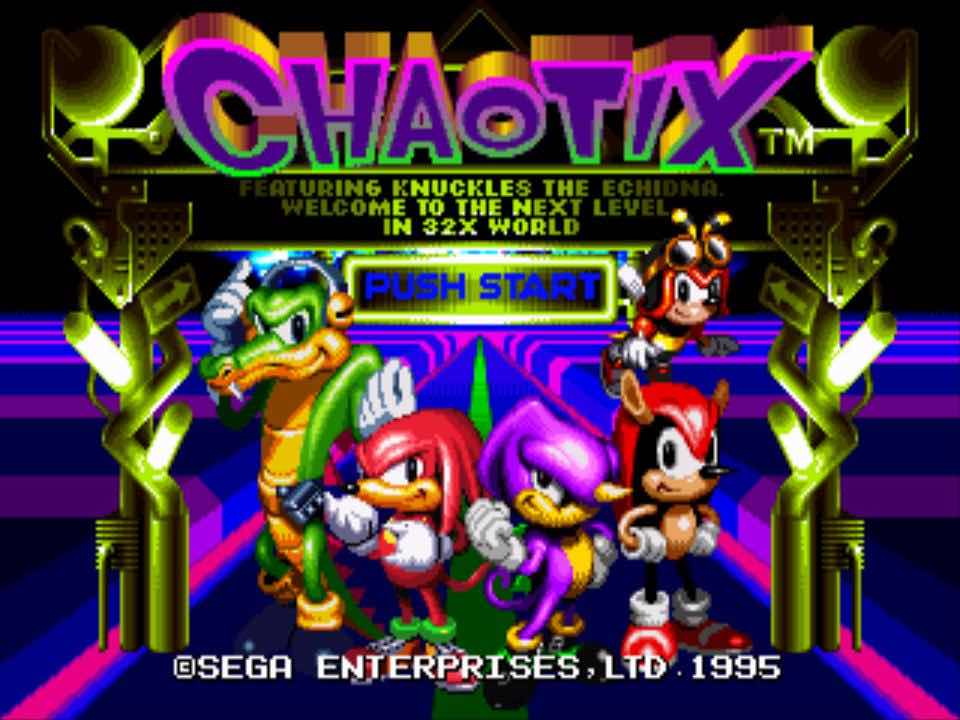 Knuckles Chaotix Start Screen