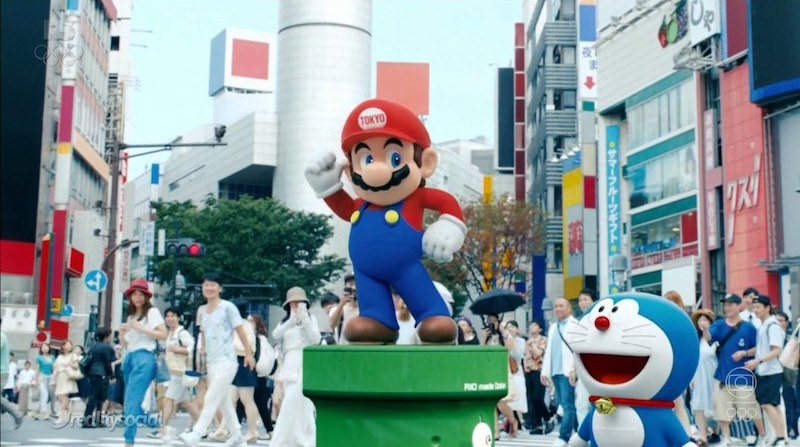 Super Mario stars alongside another iconic Japanese iconic in Doraemon before heading over to Rio.